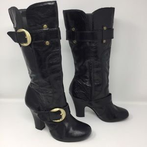 Naughty Monkey Genuine Leather Tall Buckle Boots